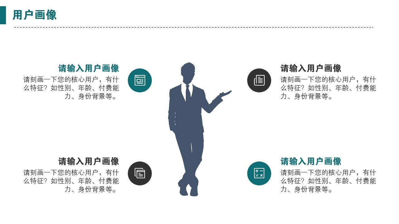 互聯網app工具類辦公軟件生活服務完整商業計劃書PPT模版-用戶畫像