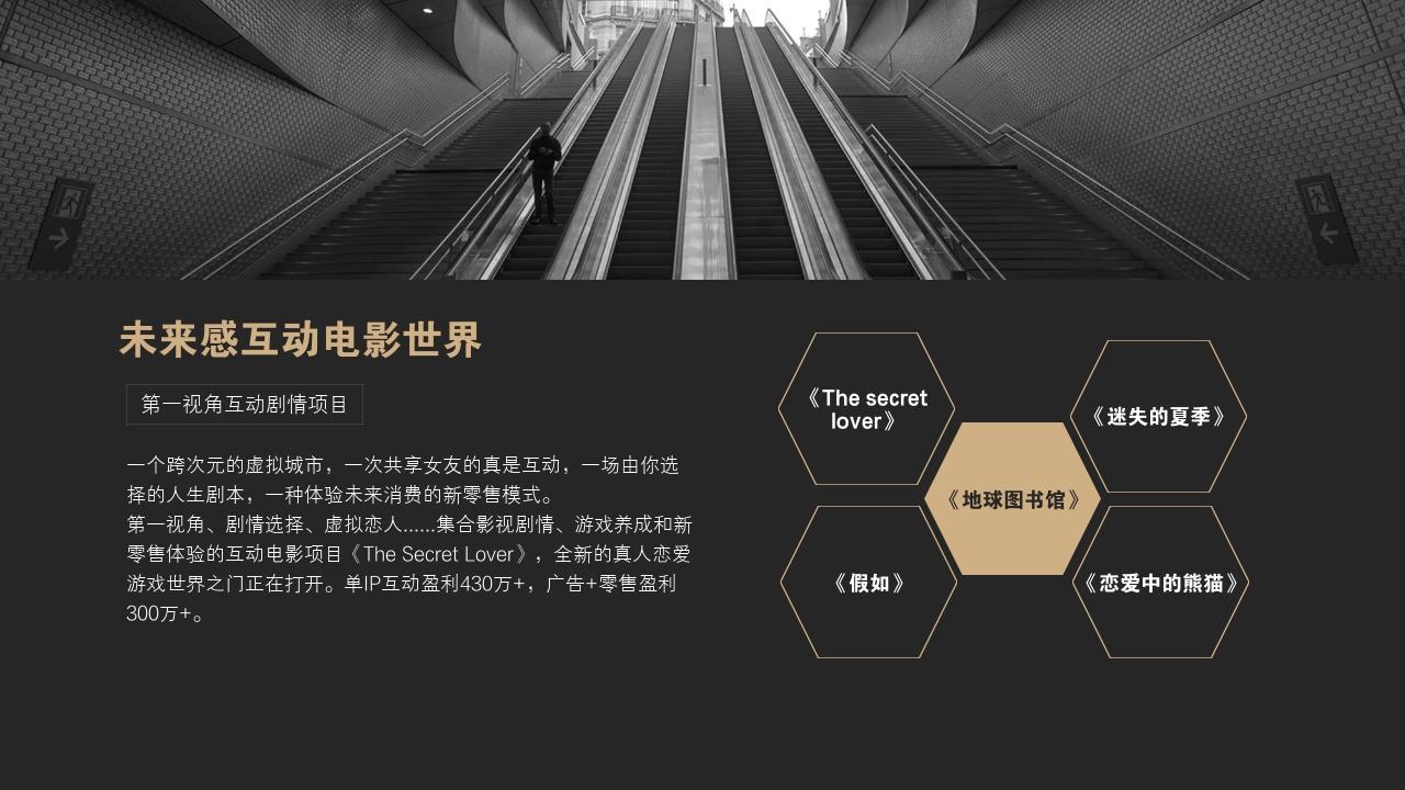 網紅孵化公司MCN文化傳媒行業商業計劃書PPT模板-未來感互動電影世界
