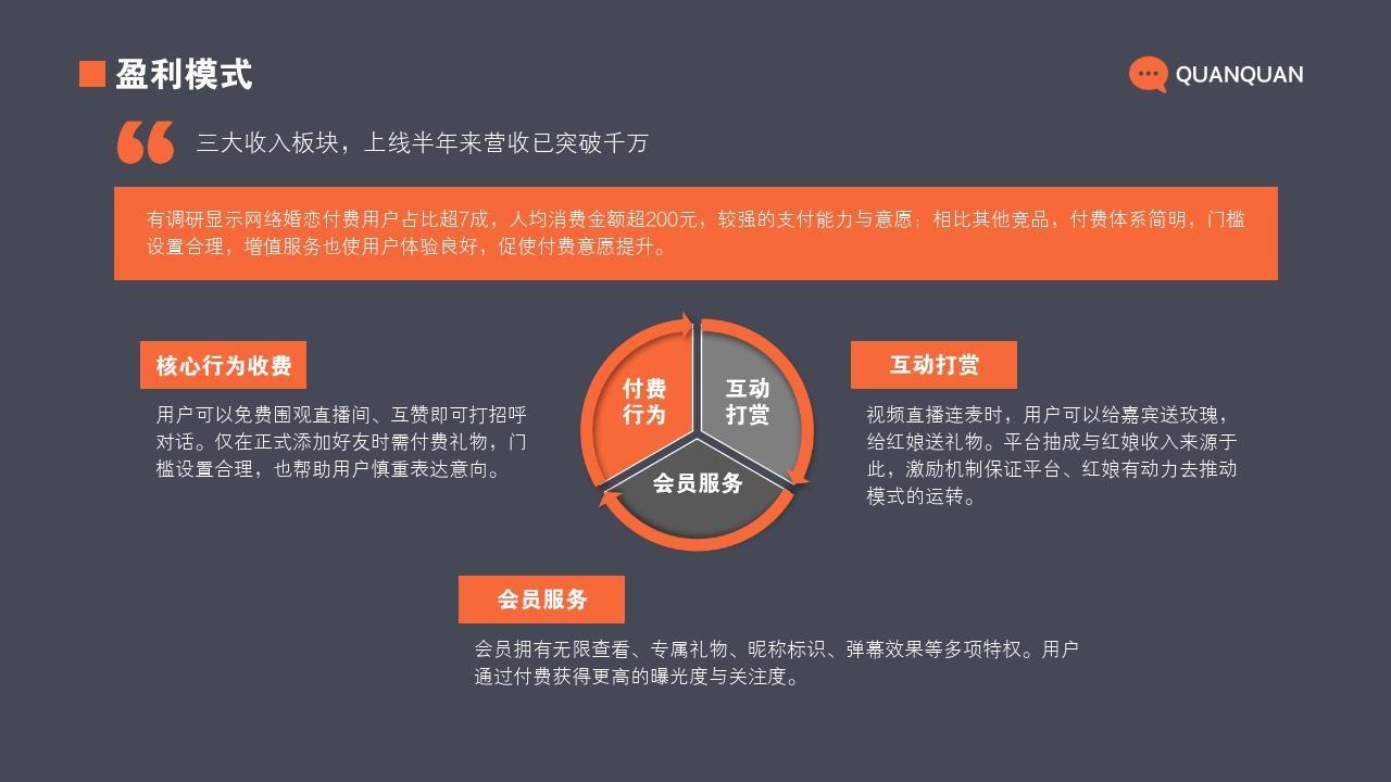 視頻交友婚戀平臺單身社交領域商業計劃書PPT模板-盈利模式