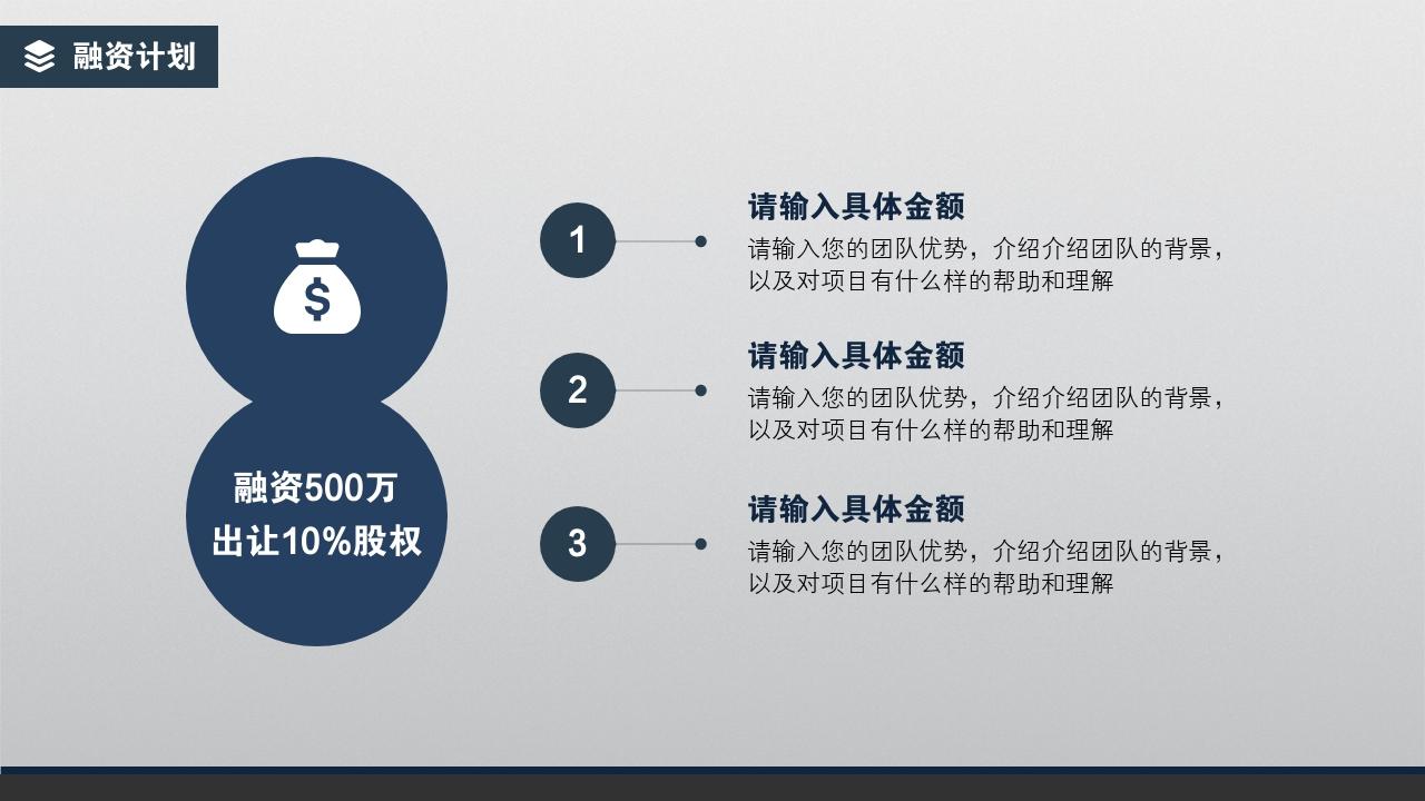 企業服務商家服務簡約通用完整商業計劃書PPT模版-融資計劃